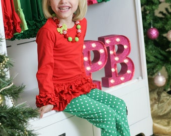 "Red Ruffle Tunic ""Brynn"" Top Icing Style"