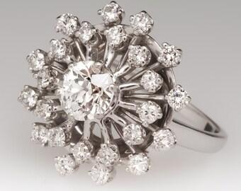 Vintage 1 Carat Old European Cut Diamond Starburst Ring WMS11096