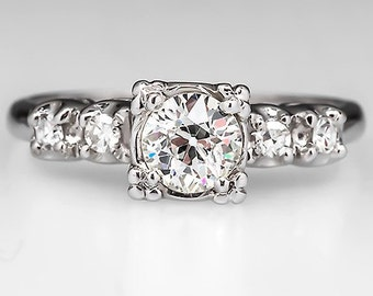 Vintage Engagement Ring – Old European Cut Diamond - Vintage Platinum Engagement Ring - WM8918