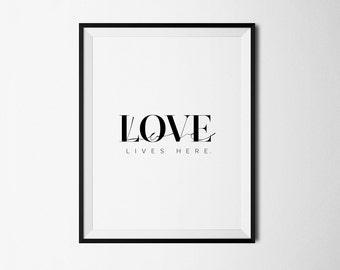 Love lives here, Printable art, Valentines printable, Valentines print, Love quotes, Love print, Printable poster, Bedroom print, Love art