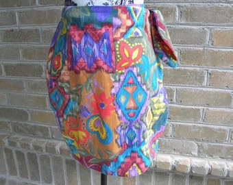Vintage Boho Print Wrap Skirt / Vintage Short Print Wrap Skirt / KWBL Los Angeles / Made in USA / Size Small