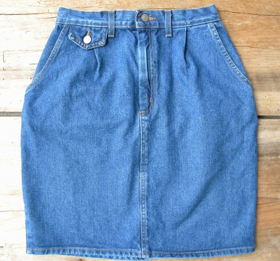 vintage high waisted denim skirt knee length denim skirt
