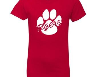 Tiger Mascot Shirt - School Spirit Shirt - Red Girls T-Shirt