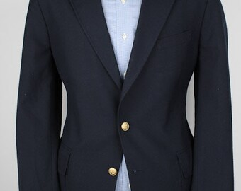 Navy Mens Blazer - Boston Traders Gold Tone Buttons Vintage Poly Blend 40 R Sport Coat Jacket