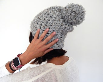 Ready to Ship Chunky Knit Hat - Wool Knit Hat - Chunky Crochet Beanie - THE CLAIRE - Pompom Beanie Hat