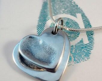Stacking Heart Fingerprint Necklace in Sterling Silver