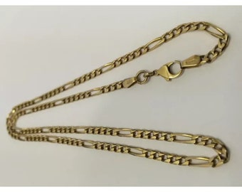14K YELLOW GOLD 3mm FIGARO Chain Necklace 9.9 Grams!