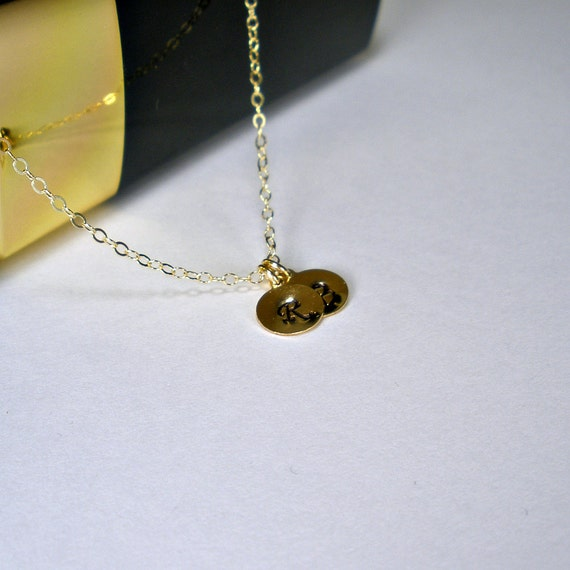 gold initial necklace tiny initial necklace personalized