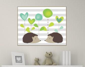 Hedgehog Nursery Art Print, Baby Girl or Boy Porcupine and Hedgehog Wall Art, Girls or Boys Bedroom Decor - A167-Custom Colour