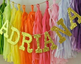 "Glitter Letter ONLY Custom Baby Name Banner / Smash Cake Prop / Modern Nursery Decor / High Chair Sign / Other Colors Available / 4"" Uppers"