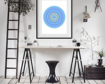 Teal wall art print bohemian decor 8x8 wall by for 8x8 dining room