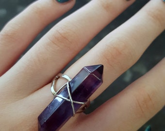 Gemstone Ring Silver Plated And Adjustable