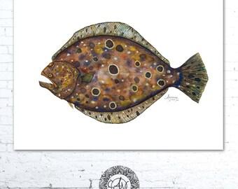 Watercolor Fish, Flounder Print, Fish Print, Fish Art Print, Fish Wall Art, Sea Life Art, Coastal Art, Nautical Art, Fishing Painting