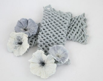Fingerless gloves-Hand warmers-Mittens crochet cuffs felted flowers beads embroidery - Grey