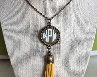 Long Monogrammed Tassel Necklace - Antique Bronze Personalized Necklace - The perfect personalized accessory!