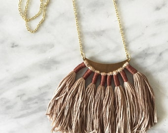 Autumn 004 Fiber Necklace // Tassel Necklace