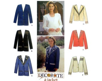 """Women's Decorated Jacket Sewing Pattern Uncut Misses Size 12, 14, 16 Bust 34, 36, 38"""" Simplicity 9826"""