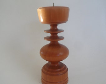 Vintage wooden candleholder,candleholder,sixties wood ware,candleholder for round or big candles,collectible wood ware