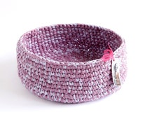Handmade cotton mauve and lilac cat bed/basket
