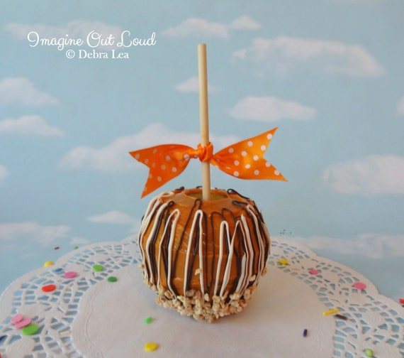 Faux Fake Realistic Caramel Apple with Nuts White Dark Chocolate Home Decor Photo Prop