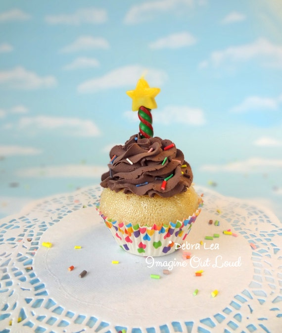 Fake Cupcake Handmade Happy Birthday Celebrate Fake Vanilla Cupcake with Candle Sprinkles Photo Prop