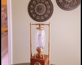 One of a kind brass and wood steampunk inspired lamp
