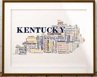 Kentucky Map Color Typography Map Art,Kentucky Cities & Towns Map Poster,Kentucky Poster Print,Text Art Print,Word Map