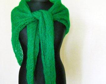 Green mohair scarf, emerald wraps shawls, knitted shawl, knitwear, hand knit, scarf wool, autumn scarves, minimalist shoulder wrap, sheer