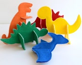 Felt 3D Puzzle Dinosaurs PDF Sewing Pattern - Set of 5 Dinosaurs