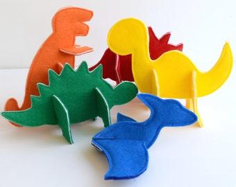 Felt 3D Puzzle Dinosaurs PDF Sewing Pattern - Set of 5 Dinosaurs