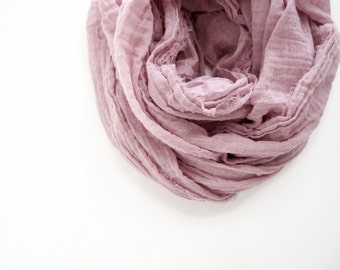 Dusty Rose Scarf, Lightweight Pink Cotton Gauze, Mauve Scarf for Men & Women, Hand Dyed, Nomad Long Scarf, Mauve Cotton Scarf, Pink Scarf