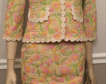 Vintage Totally Stepford Wives 60's style Designer Gorgeous Cynthia Steffe Steffe Spring Suit size 6