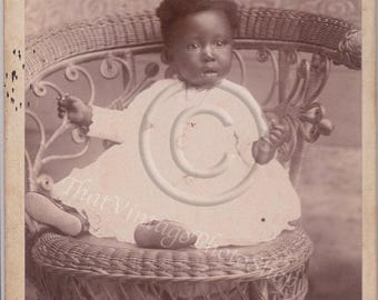 Darling African American Baby Vintage Cabinet Photo