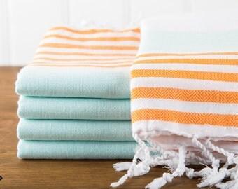 S A L E, Nautical Turkish Towel, Mint and Orange, Peshtemal, Beach Towel, Hammam Towel