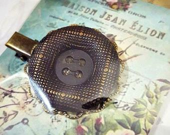 Unique Vintage Metal Button Hair Clip