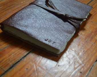 Genuine Leather Bound Blank Journal with Ripped Edges