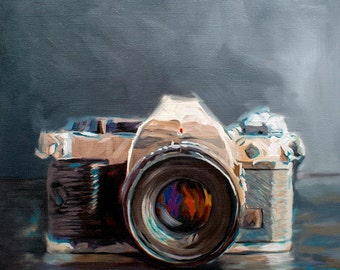 Vintage Film Camera - Fine Art Oil Painting Archival Giclee Print by Artist Lauren Pretorius