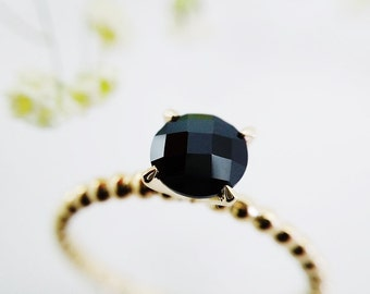 Yellow Gold Ring, Yellow Gold Engagement Ring, Black Ring, Genuine Black Spinel, 14kt Yellow Gold, Solitaire Ring, Crafted to Order