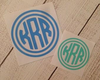 Ring Outline Circle Monogram Vinyl Decal