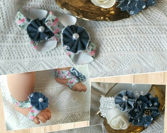 Blue Jean Baby Barefoot Sandals with Matching Headband