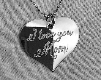 I love you Mom Heart Necklace - Mom Necklace - Mother's Day Necklace - Necklace for Moms - Engraved Mom Necklace - Boho Font