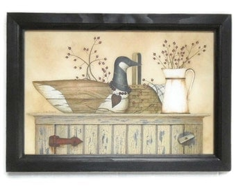 Primitive Home Decor, Duck and Berry Shelf, Duck Decoy Picture, Art Print, Wall Hanging, Handmade, 21X15, Custom Wood Frame, Made in the USA