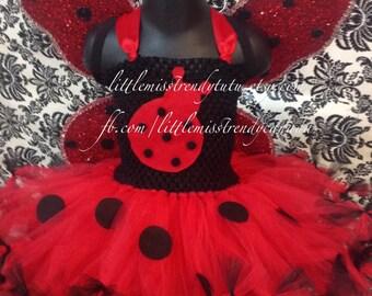 Ladybug Tutu Dress with Wings, Ladybug Halloween Tutu Dress, Ladybug Tutu Dress, Ladybug Costume, Girls Ladybug Tutu Dress