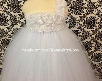 White Flower Girl Tutu Dress, One shoulder White Tutu Dress, Girls Tutu Dress, Flower Girl Tutu Dress, Shabby Chic White Tutu Dress