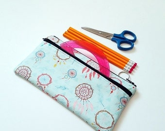 FINALPRICE CLEARANCE BLUE Dream Catcher Double Zipper Large Pencil Case