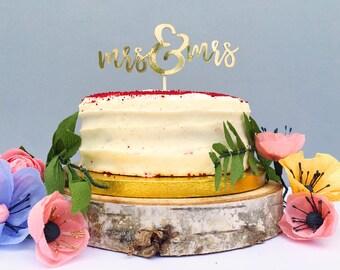 Mrs U0026 Mrs / Lesbian Wedding Cake Topper / Two Brides / Gold Wedding Decor /