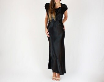 40's Black Satin Dream Gown // 1940s vintage, hand made, timeless dress, little black dress, black silk, backless dress