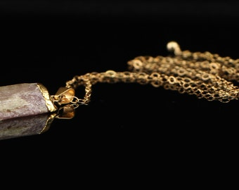 Necklace with Pink, Raw Tourmaline Pendant Capped in 24Kt Gold on 14kt Gold Filled Chain