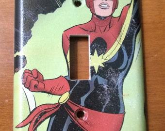 Captain Marvel comic book superhero light switch cover