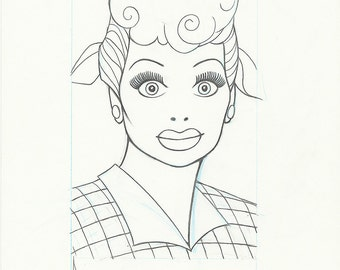 Housewife LUCILLE BALL original pencil drawing for the US postage stamp